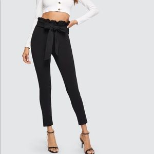 New Paper bag high waisted pants with bow belt
